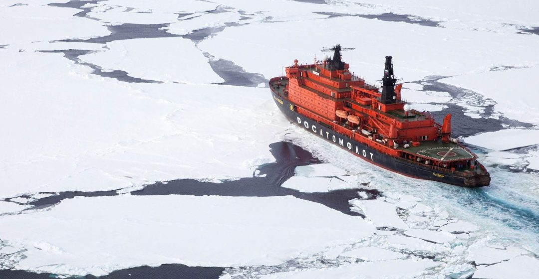 Quark 50 Years of Victory icebreaker cutting path through the Arctic sea
