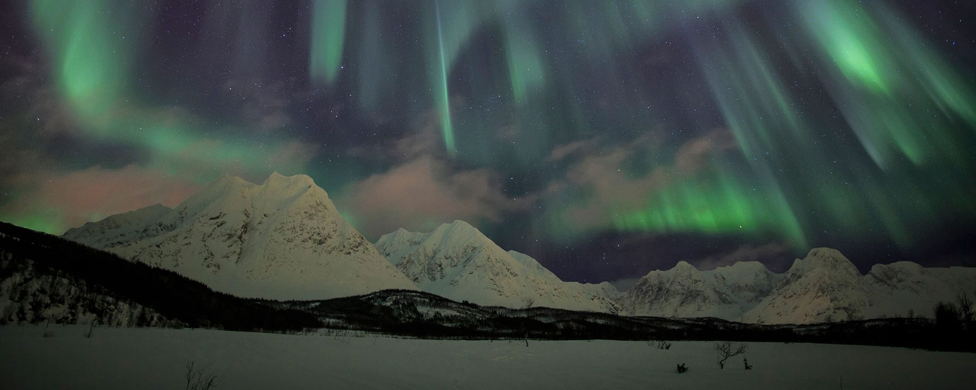 The Northern Lights illuminate the snowy landscape in Svensby Lyngen Alps, Tromsa, Norway