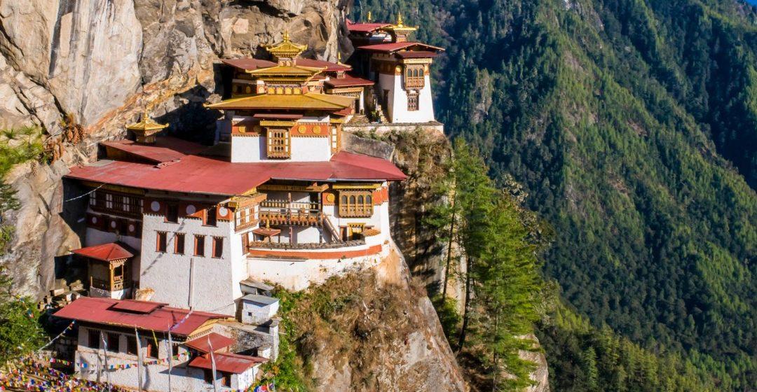 Taktsang monastery (Tiger's Nest) hanging in the cliffs, Paro, Bhutan