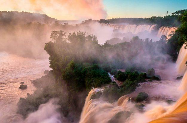 Iguazu Falls, on the border between Argentina and Brazil, at sunrise