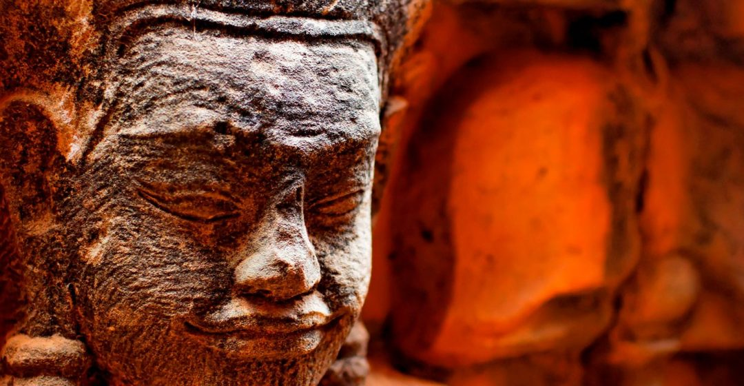 Close up of statue in Angkor Wat, Cambodia