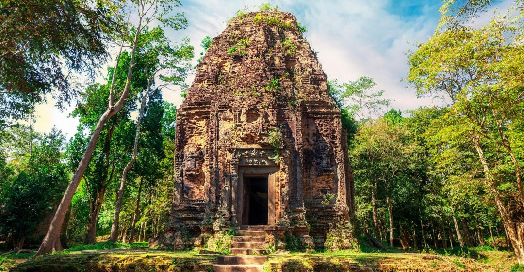 Sambor Prei Kuk temple ruins with giant banyan trees, Kampong Thom, Cambodia