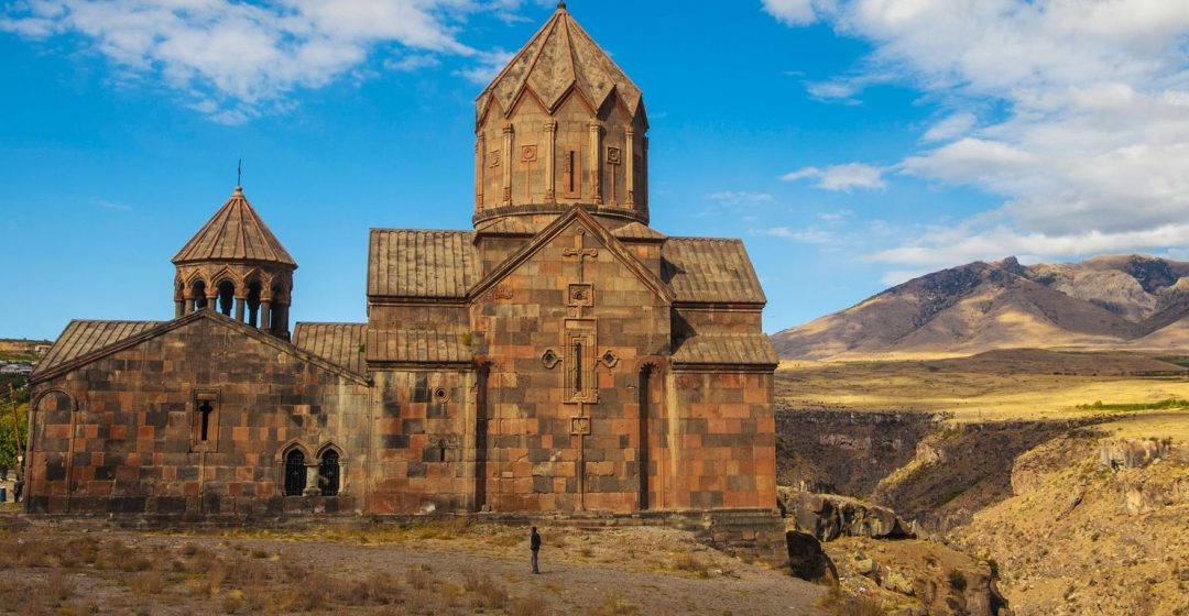Hovhannavank church standing on the edge of the Qasakh River Canyon in Armenia, Caucasus