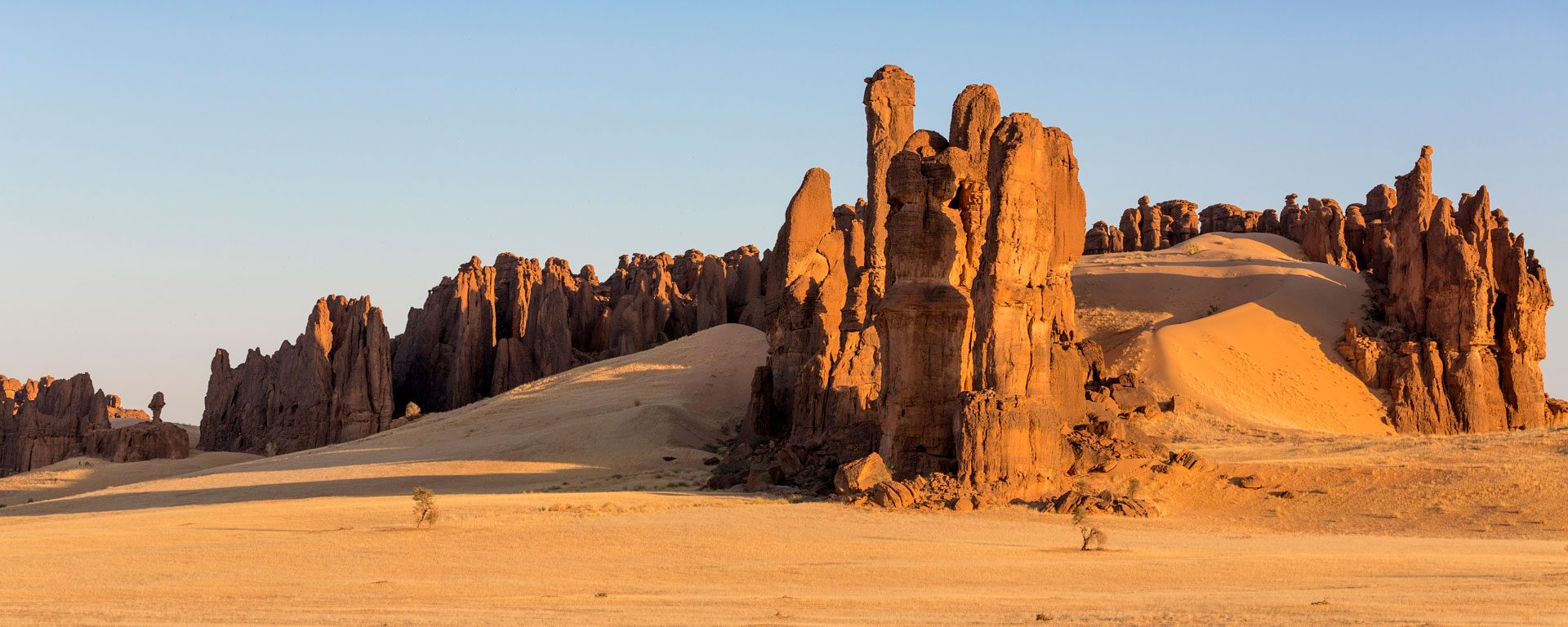A ridge of red sandstone columns in the Ennedi Desert, Chad