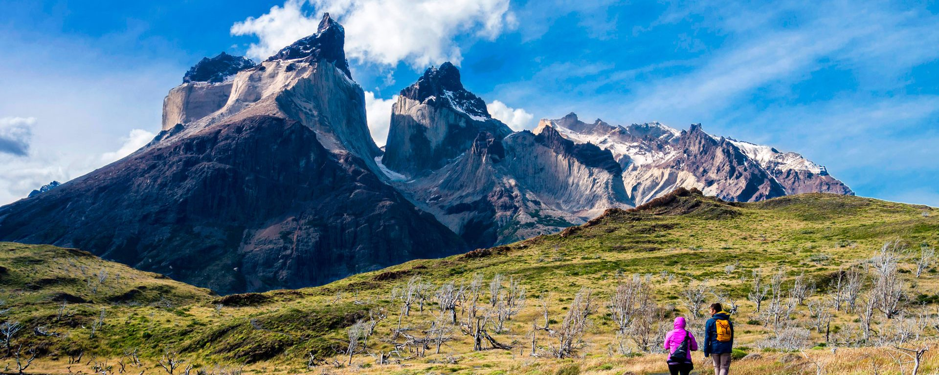 Hikers approaching the Mirador Cuernos viewpoint in Torres del Paine National Park, Patagonia, Chile