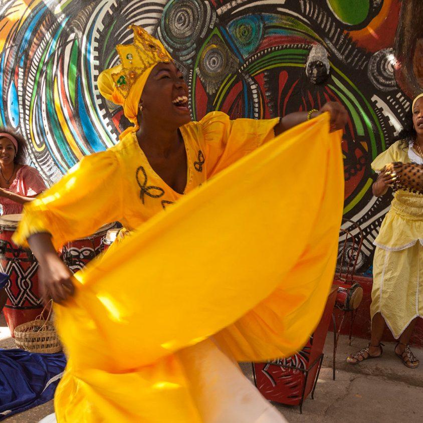 Rumba dancers perform on Calle Hamel, Havana, Cuba