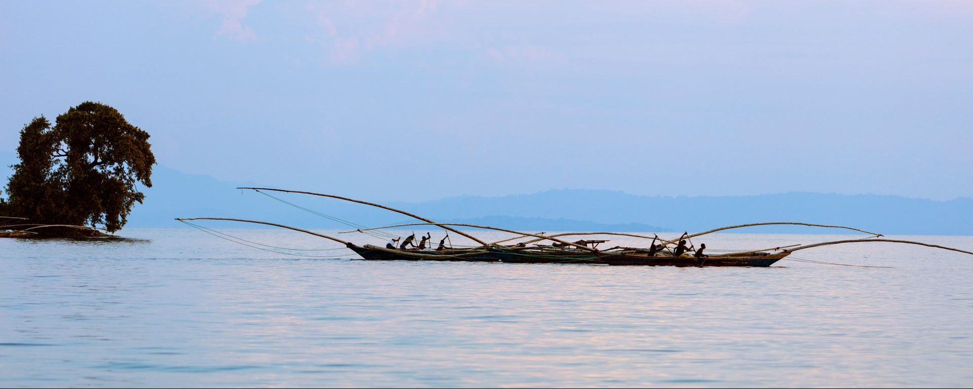 Boats on Lake Kivu on the border of the Democratic Republic of Congo and Rwanda