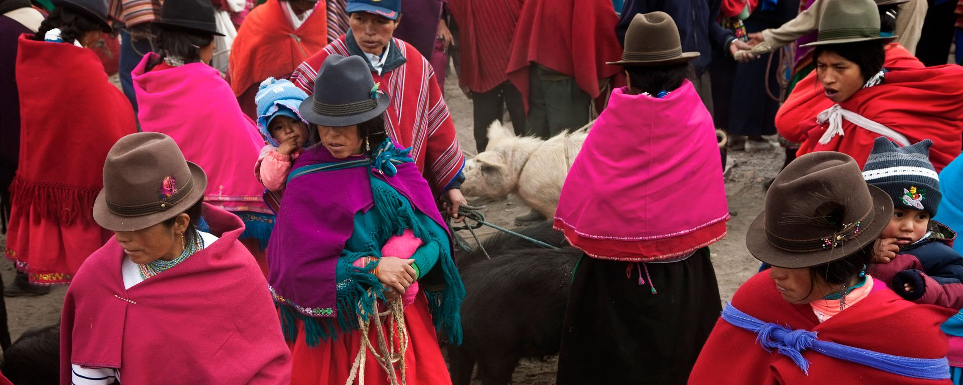 Colorfully dressed Andean women at an animal market in the central highlands of Ecuador