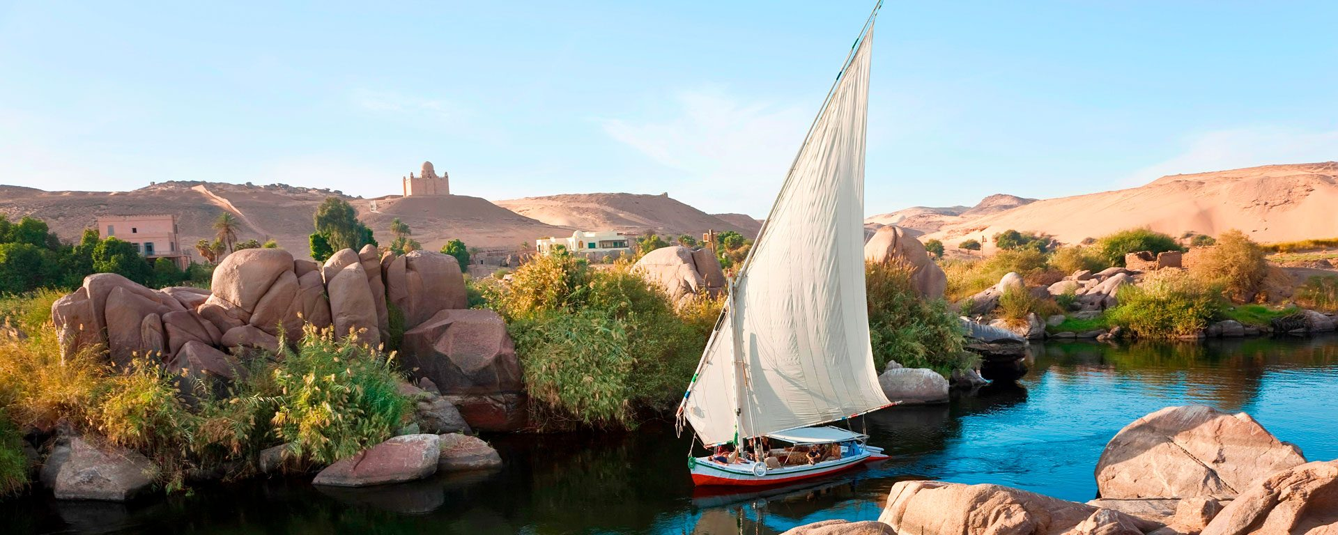 Felucca sailboats on the Nile River in Aswan, Egypt