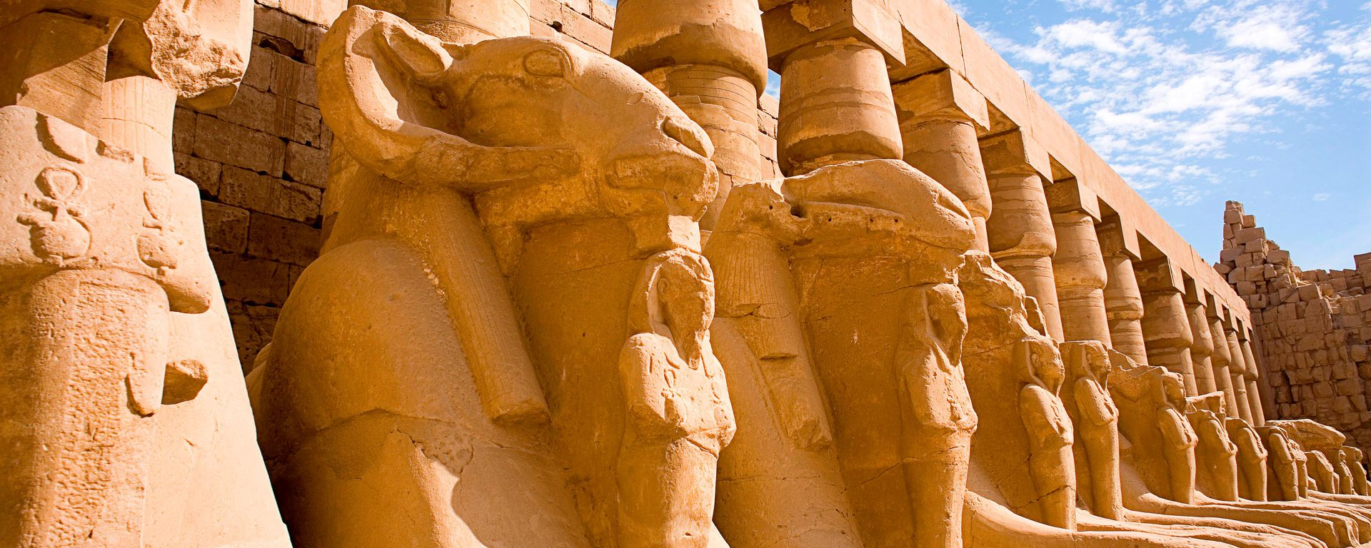 The Avenue of Rams at Temple of Karnak in Luxor, Egypt