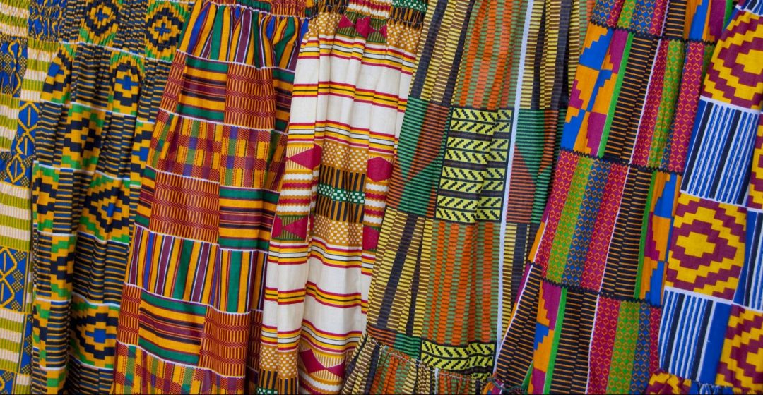 Colorful textiles in market in Accra, Ghana
