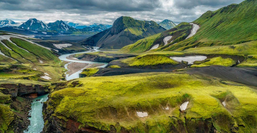 Emstrua river with Krossarjokull glacier in background, Thorsmork Iceland