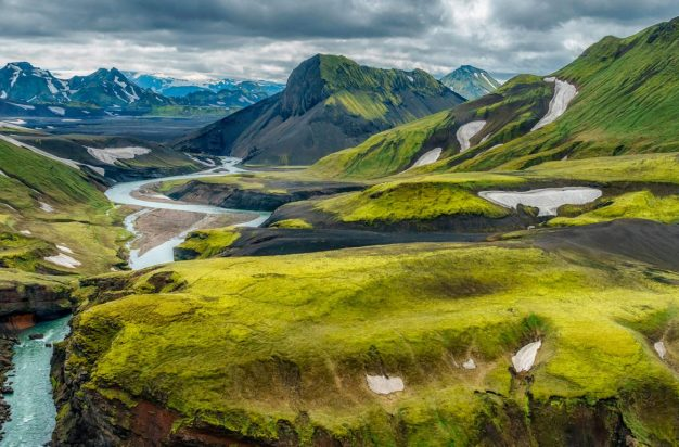 Emstrua river with Krossarjokull glacier in background, Thorsmork Iceland