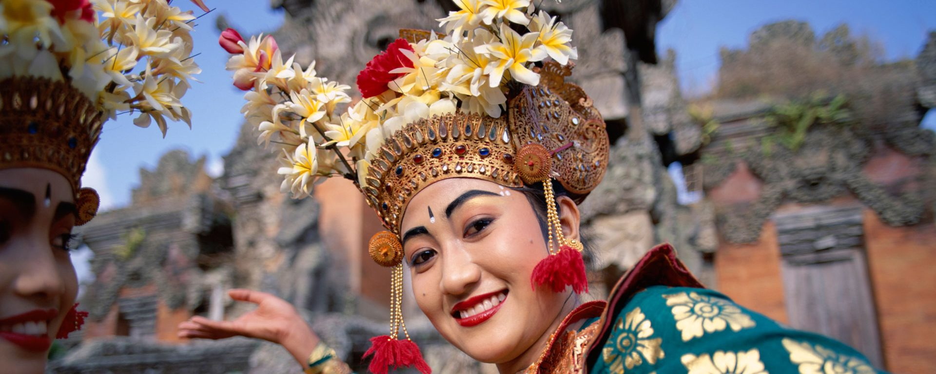 Woman dressed in traditional Legong dance costume, Bali, Indonesia
