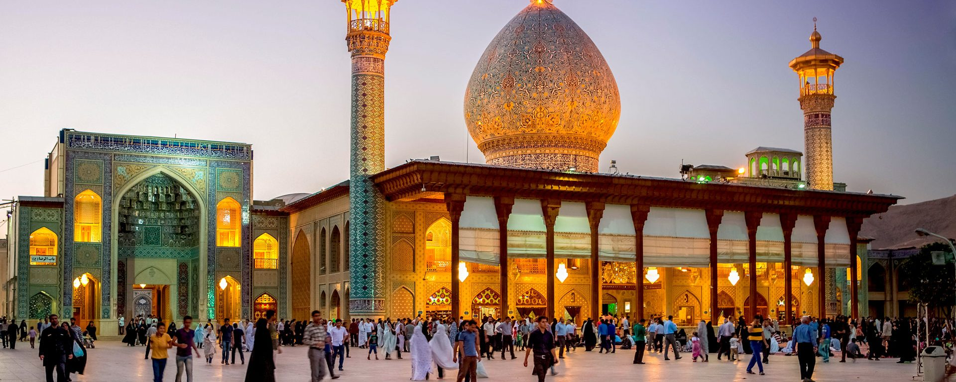 Shah-e Cheragh Sanctuary at sunset, Shiraz, Iran