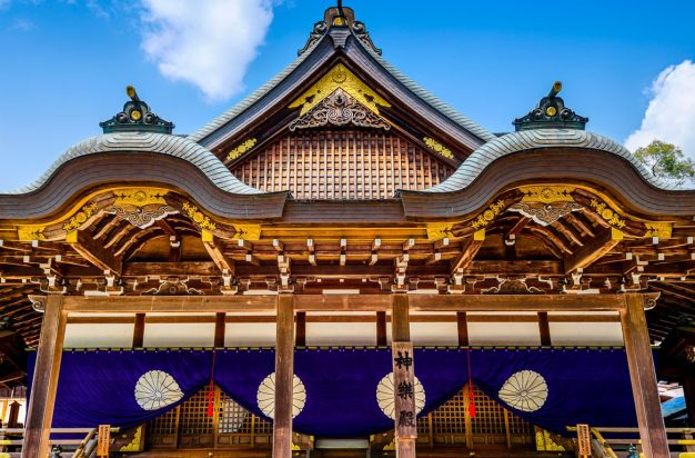 Intricate exterior of Ise Grand Shrine in Ise, Japan