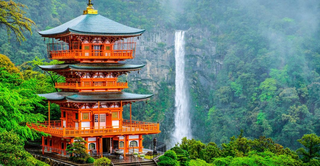 Kumano Nachi Taisha shrine stands in front of waterfall on Mount Nachi, Japan