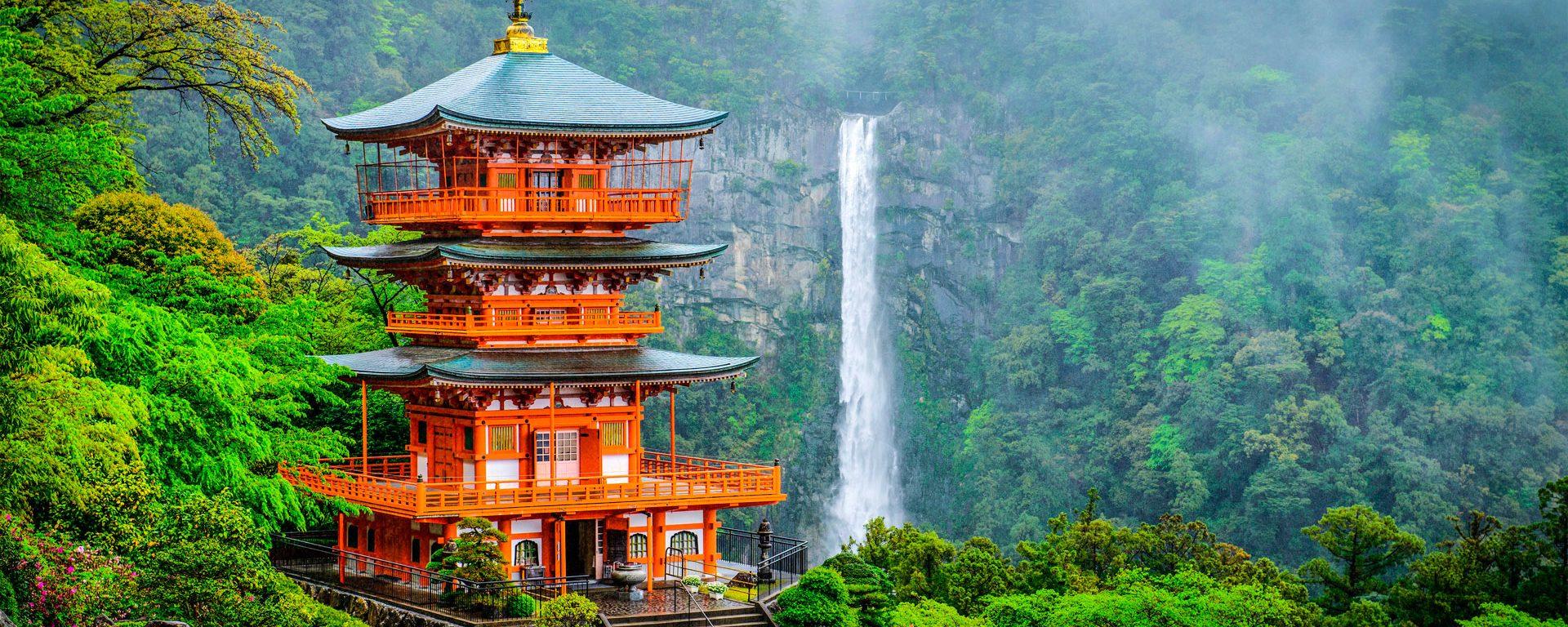 Kumano Nachi Taisha shrine stands in front of waterfall on Mount Nachi, Japan