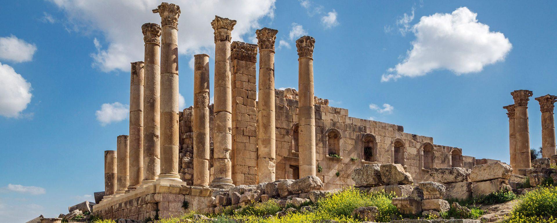 The ruins of the Great Temple of Zeus, Jerash, Jordan