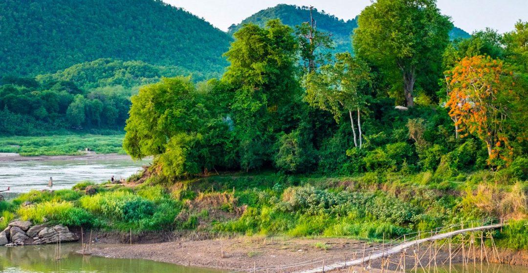 Bamboo footbridge over Nam Khan River near Luang Prabang, Laos