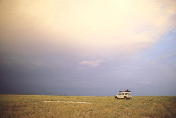 Vehicle on Makgadikgadi Pans, Botswana