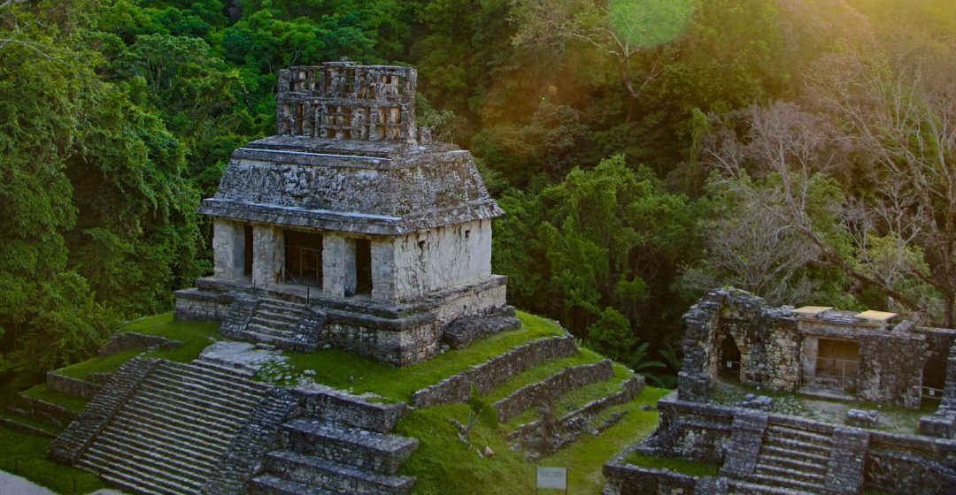 Mayan ruins at sunrise, Palenque, Chiapas, Mexico