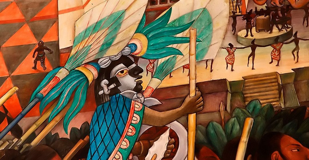 Detail of the Diego Rivera mural, La Civilizacion Totonaca, at the National Palace, Mexico City