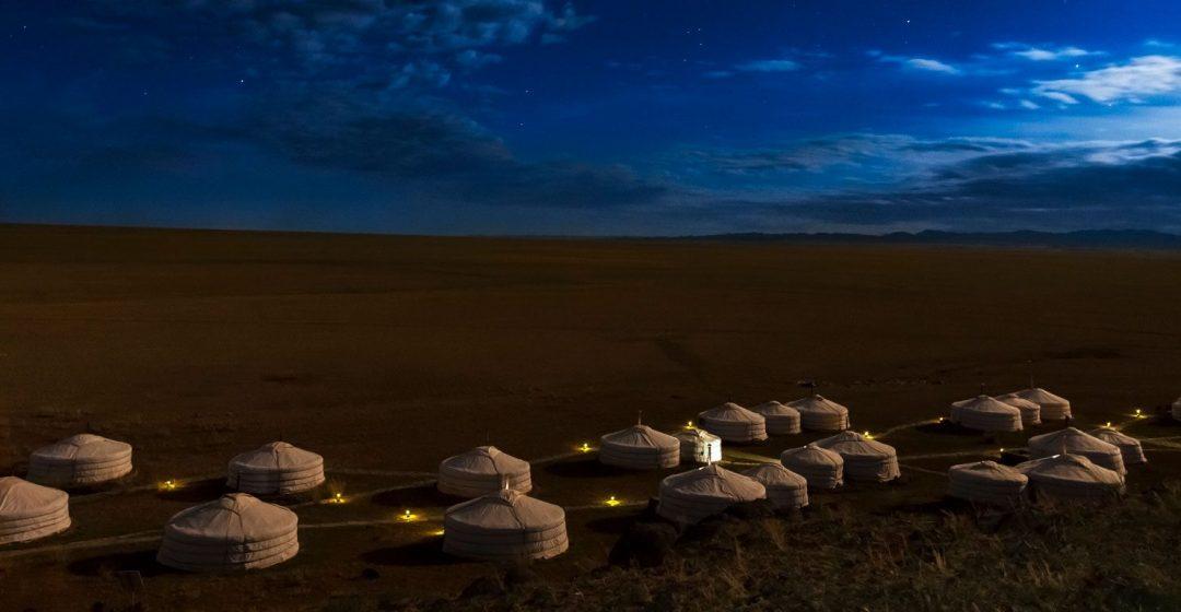Stars over Three Camel Lodge ger camp in the Gobi Desert, Mongolia