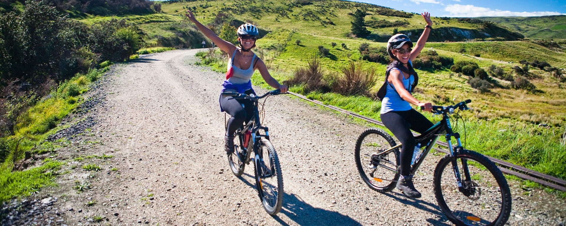 Bikers at the end of the Otago Central Rail Trail in Hyde, New Zealand
