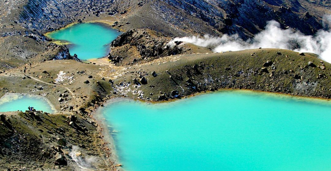 The Emerald Lakes in New Zealand's Tongariro National Park, North Island