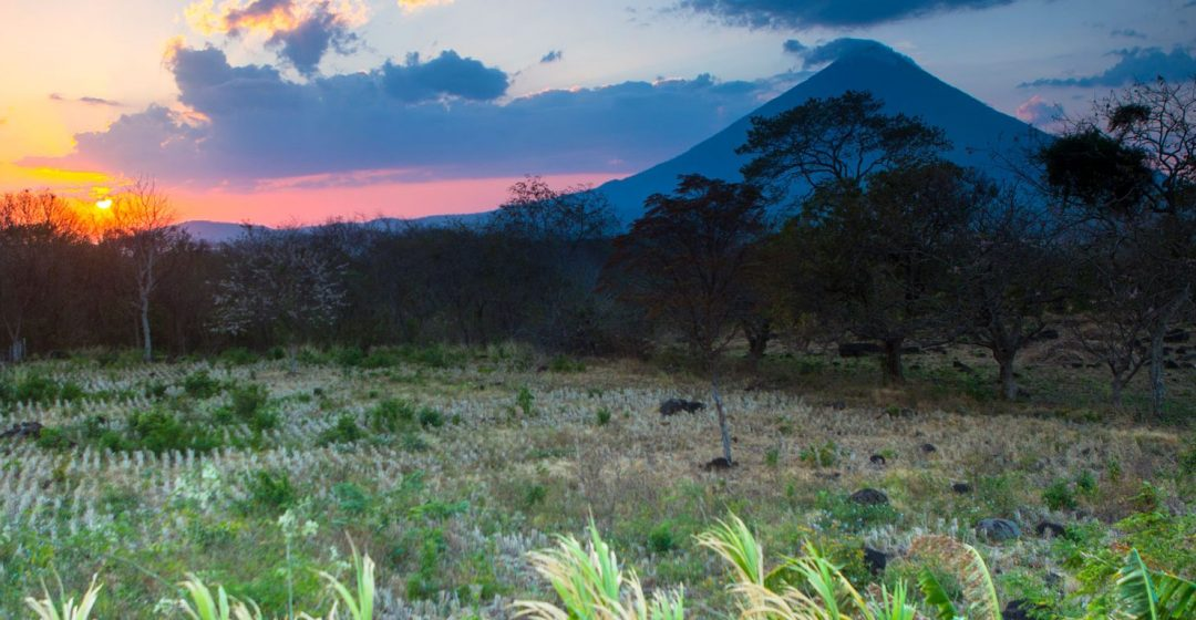 Sunset falls behind the Concepcion volcano on the Isla de Omatepe, Nicaragua