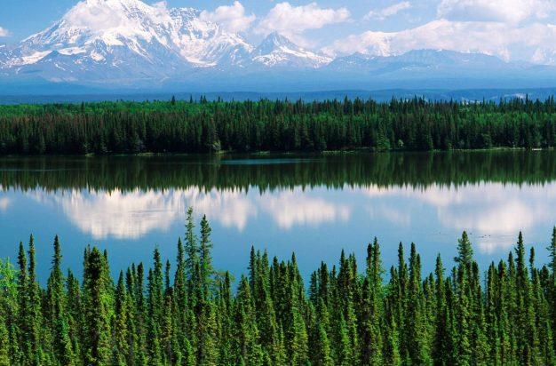 USA, Alaska, Willow lake and Mt Wrangell in Wrangell, St. Elias National Park