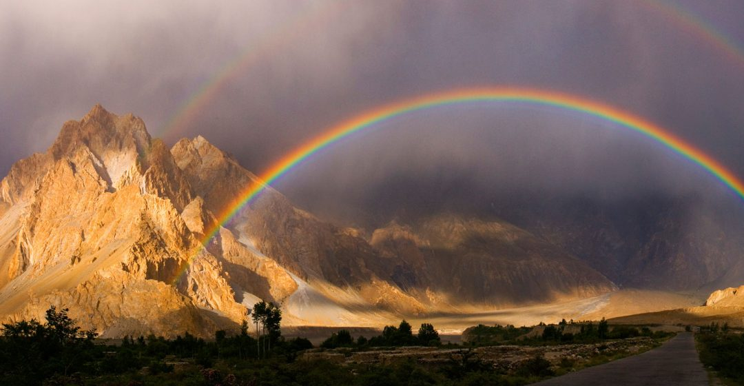 Rainbow over the Khunjerab River, Passu, Pakistan
