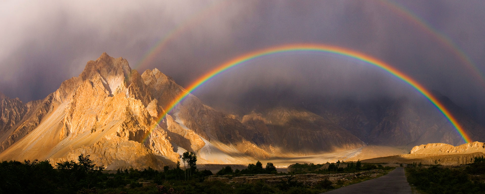 Rainbow over the Khunjerab River, Passu, Pakistan