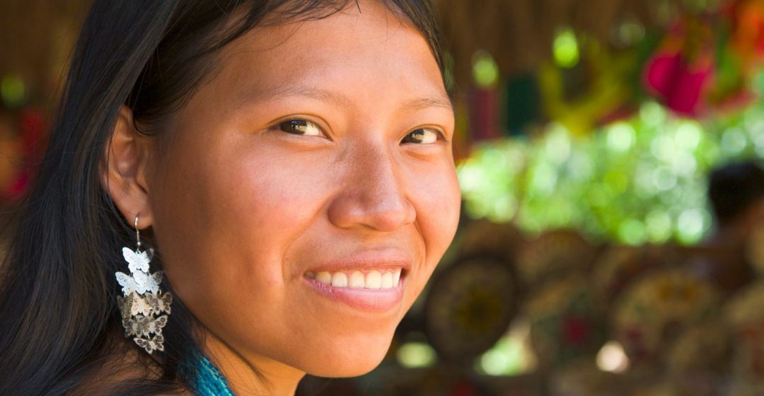 Woman of the native Embera tribe in the village of Embera, Panama