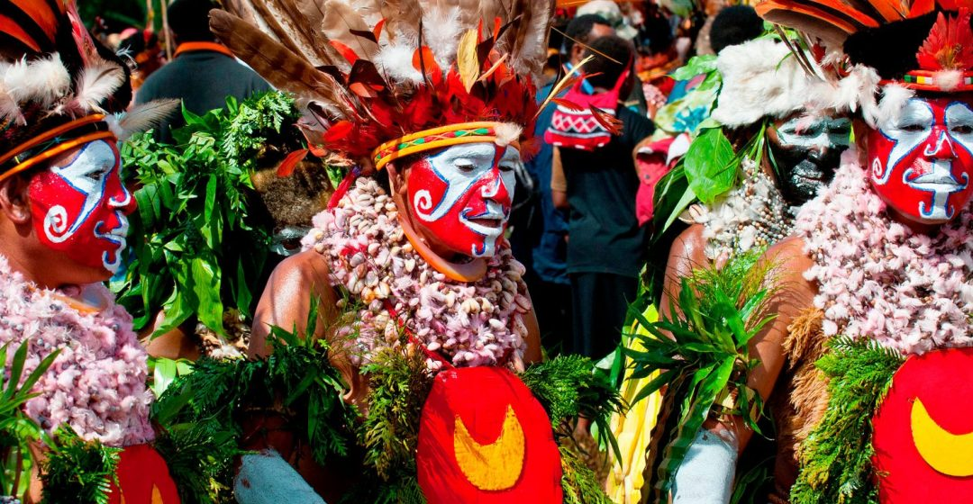 Local tribes celebrating the traditional Sing Sing in the Highlands of Papua New Guinea