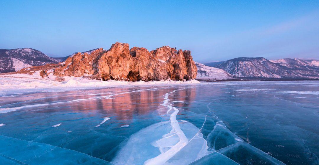 Cracks along the ice on frozen Lake Baikal in Siberia, Russia