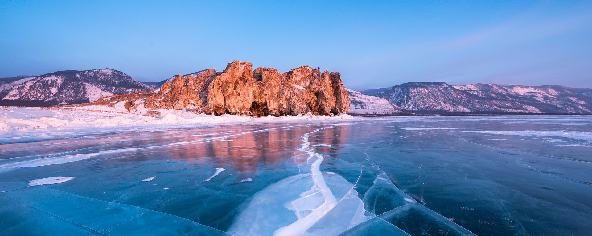 Cracks along the ice on frozen Lake Baikal in Siberia, Russia