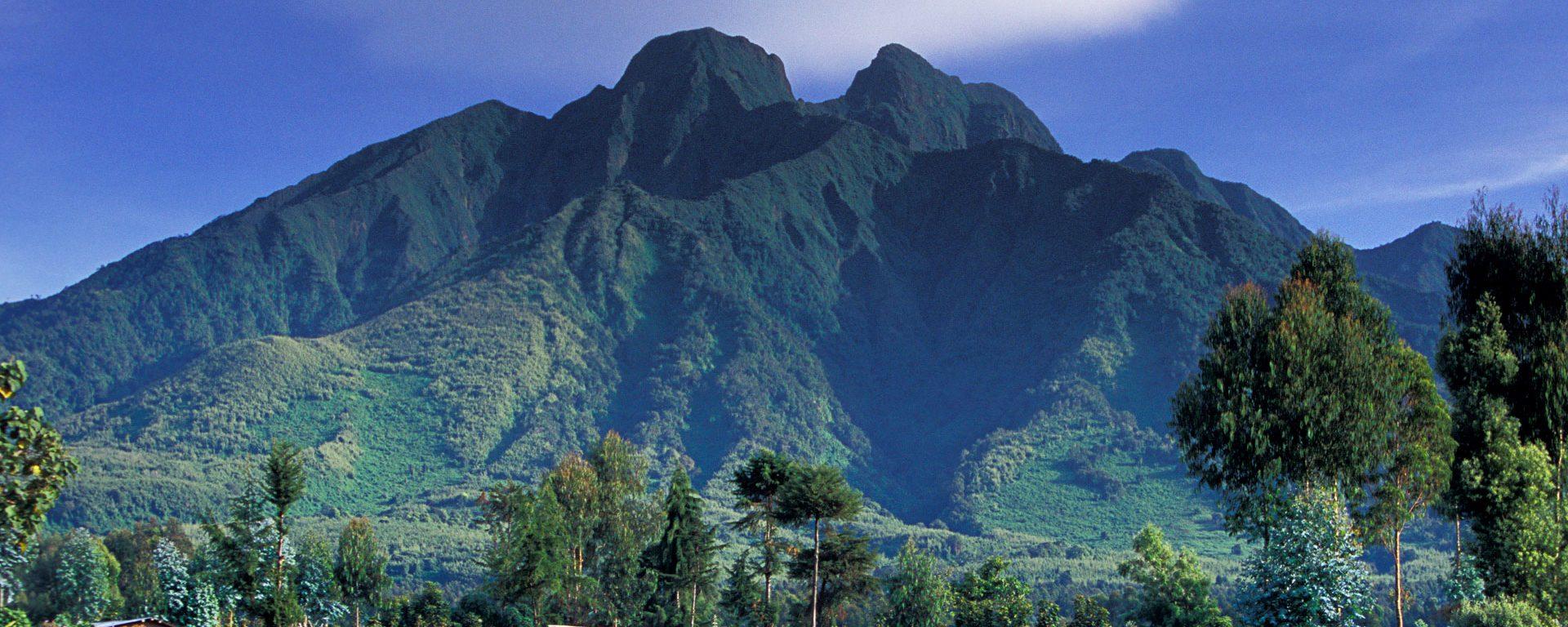 View of volcanoes from outside Volcanoes National Park, Rwanda