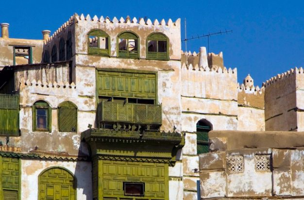 Traditional architecture in the old part of the town with arabic windows, Jeddah, Saudi Arabia