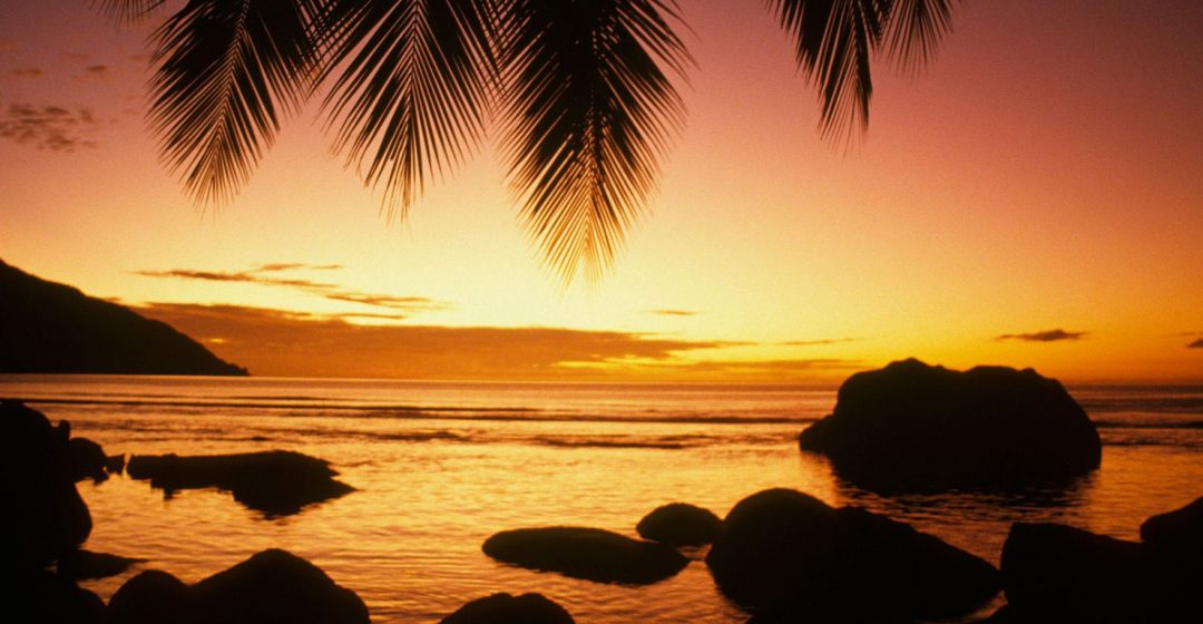 Sunset at Beauvallon Bay on Mahe Island, Seychelles