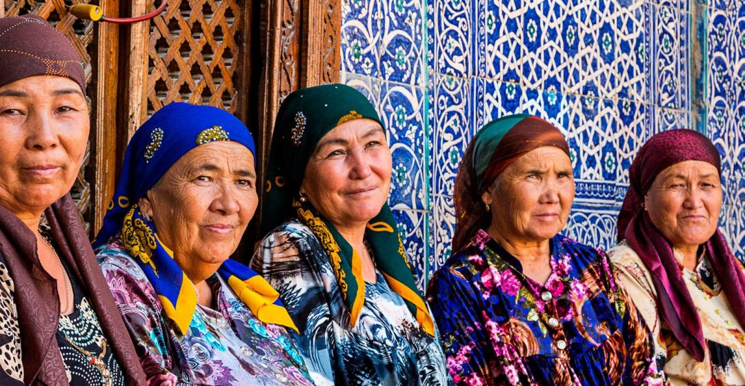 Uzbek women in colorful dress, Uzbekistan