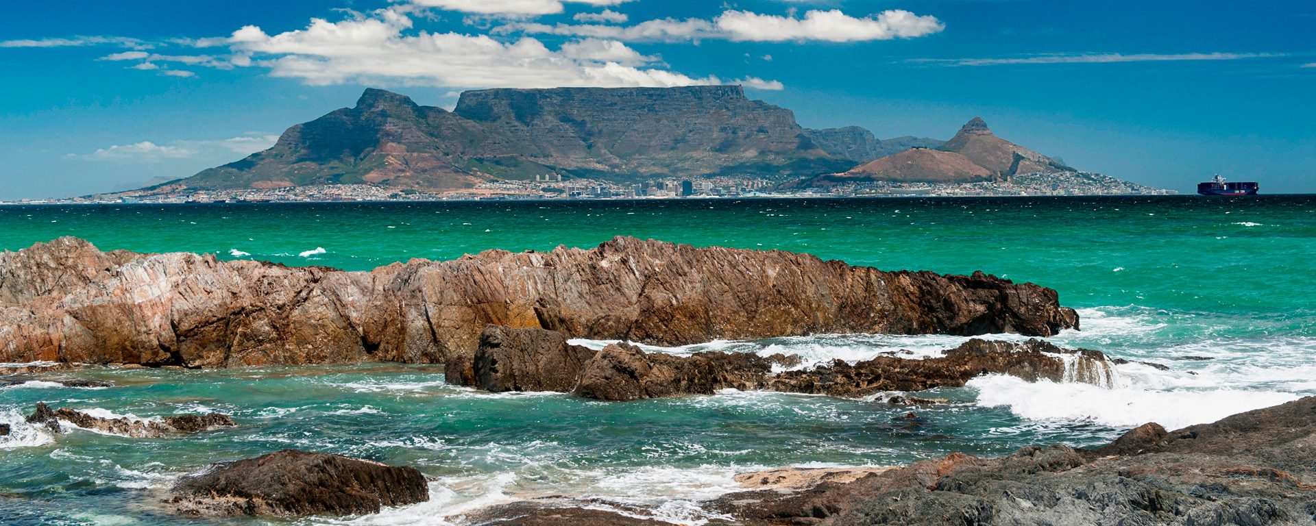 Table Mountain and Cape Town viewed from across Table Bay, South Africa