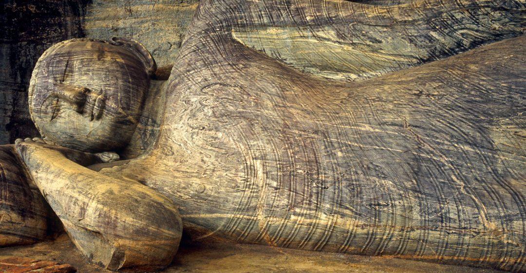 Recumbent Buddha in the Cave of the Spirits of Knowledge, Polonnaruwa, Sri Lanka