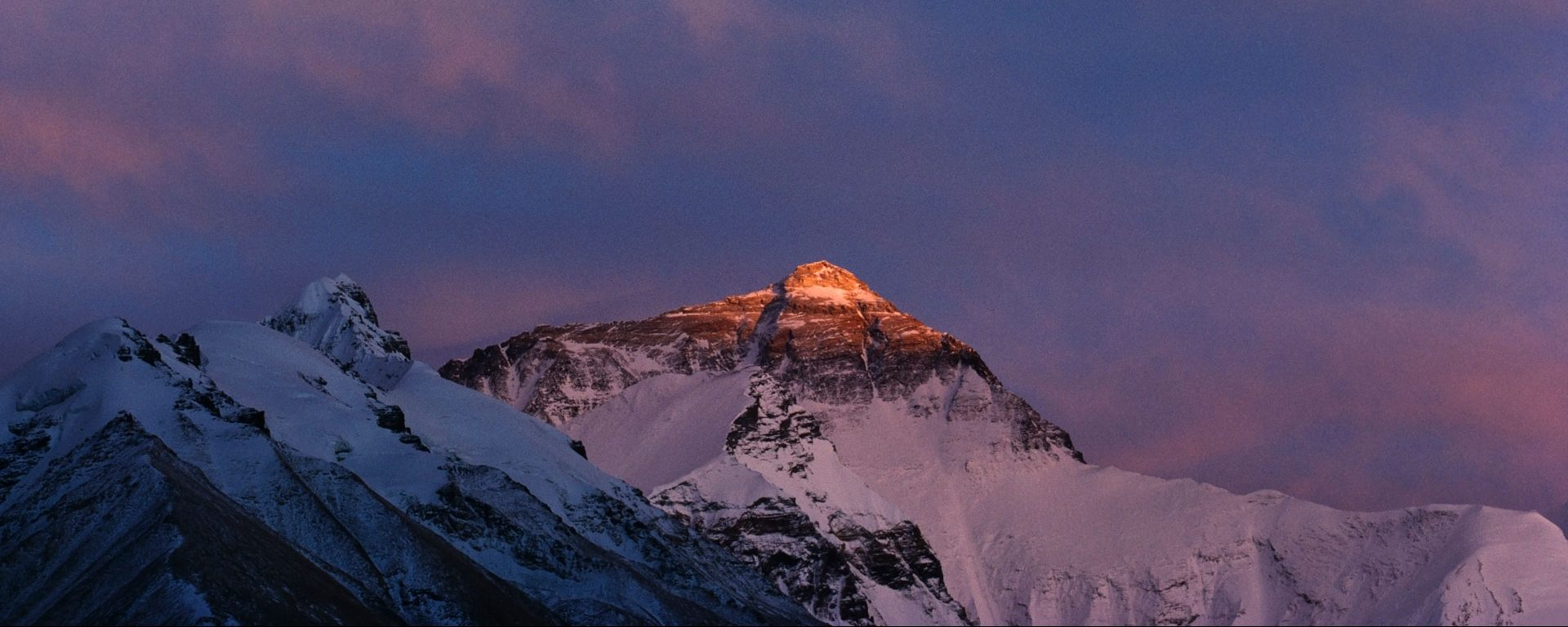 Mt. Everest with a purple sky behind, Tibet, China