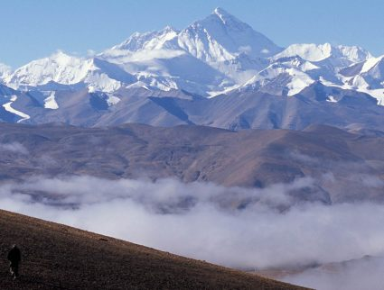 View of Mount Everest from the Pang La pass in Tibet