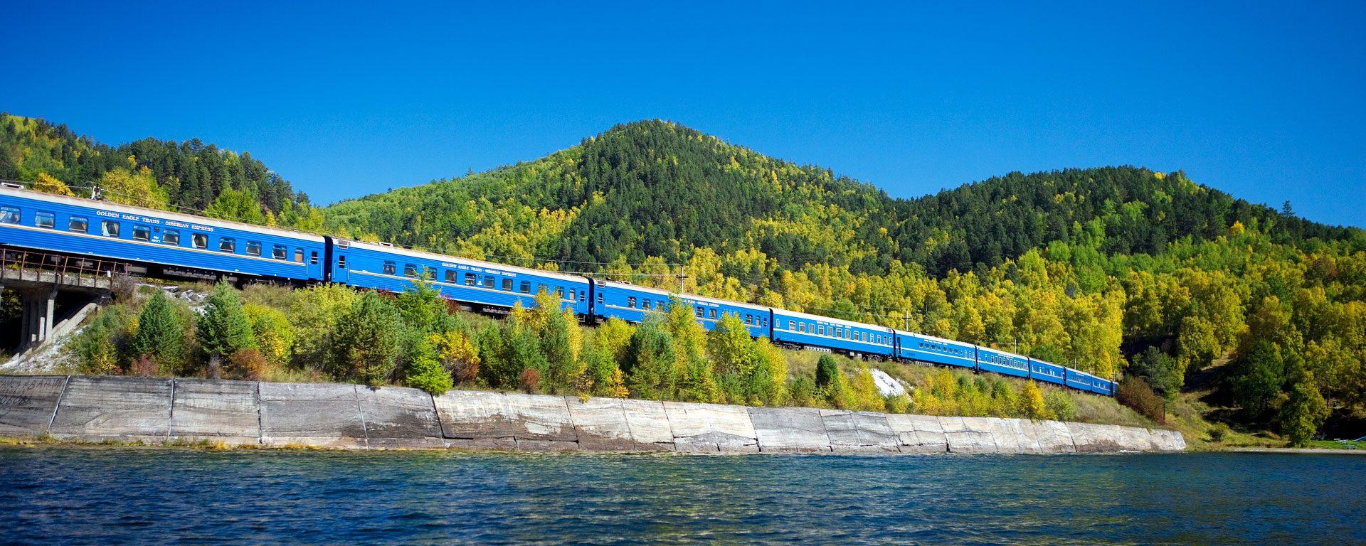 The Golden Eagle luxury train travels past Lake Baikal, Siberia, Russia