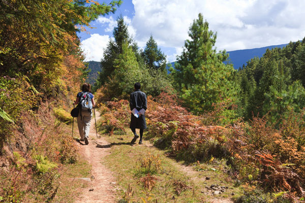 A tourist and her Bhutanese guide trekking in the beautiful countryside of Ura Valley, Bhutan
