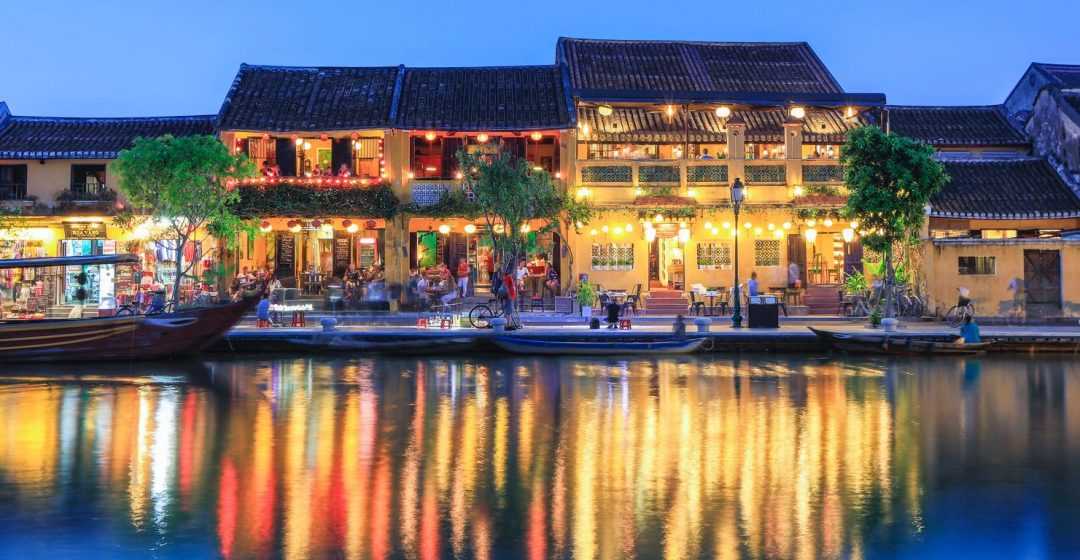Shops overlooking the river in central Hoi An, Vietnam