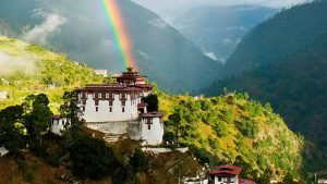 Lhuentse dzong with rainbow in eastern Bhutan